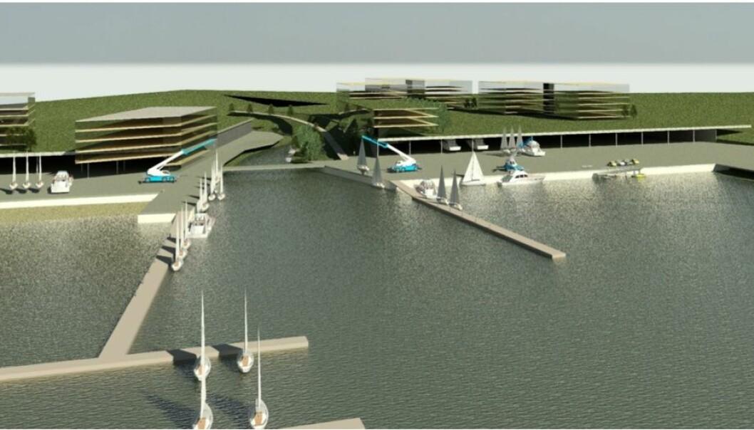 SJØLYST: Slik tenker aksjonsgruppen seg at Sjølyst kan utvikles til maritim folkepark med båtplasser under lokk.