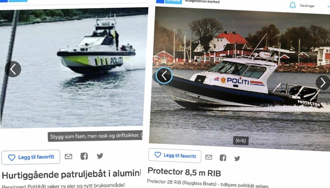 GAMLE POLITIBÅTER: Begge båtene selges nå på Finn.
